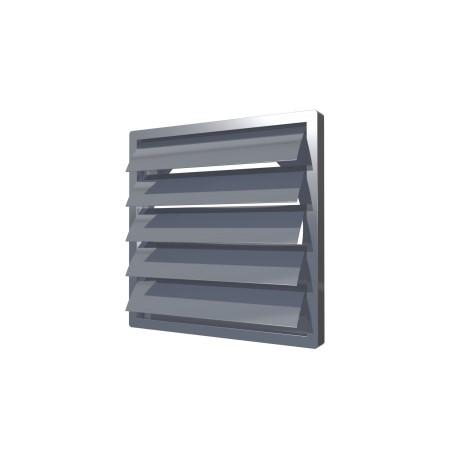Izpušna rešetka z težnostnimi loputami  456kh456  s prirobnico  D400, siva, ASA plastik