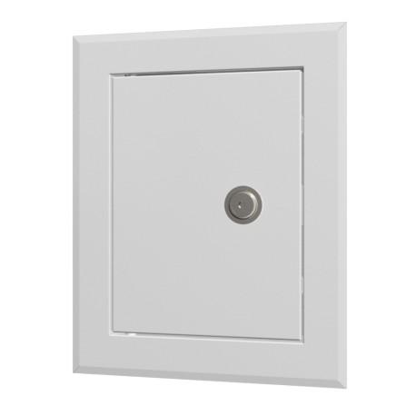 Jeklene revizijske vrata 360x360 s prirobnico 300x300  in ključavnico v valovitem pakiranju