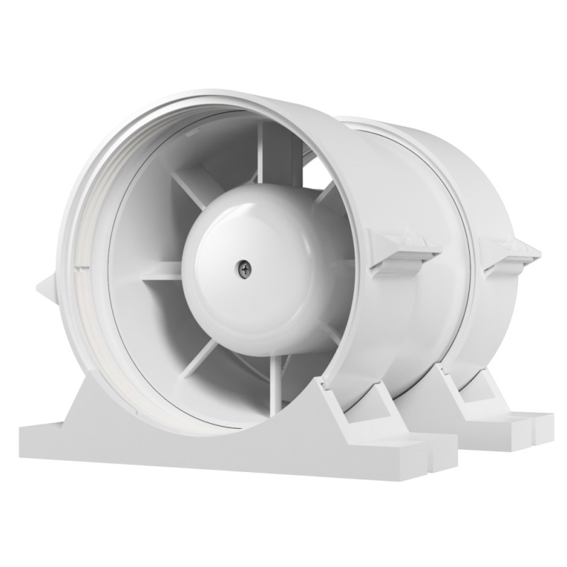 Axial duct inlet-and-exhaust fan with fastening set BB D125