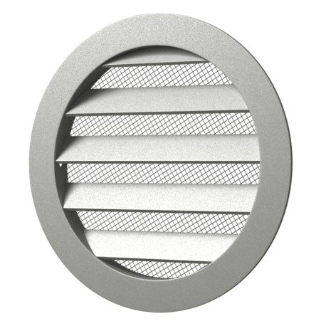 Outside round grill with screen D150 with flange D125, Aluminum