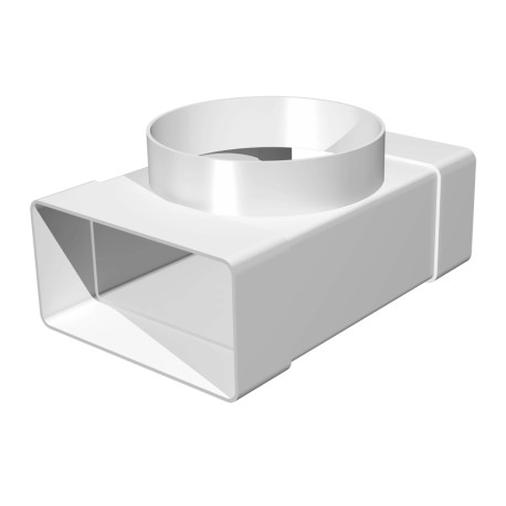 T-joint between rectangular ducts 55x110 and flanged air distributor D100