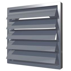 1515K12,5FV siva , Izpušna rešetka z težnostnimi loputami 150x150 in prirobnico D125, siva(ASA-plastika)