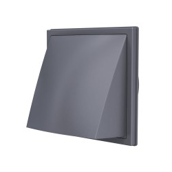 1919K15.16FV  siva , Izpušna zunanja stenska rešetka s povratno loputo 190x190 in prirobnico D150/160, siva