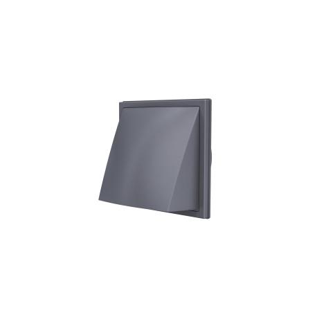 1515K12,5FV  siva, Izpušna zunanja stenska rešetka s povratno loputo 150x150 in prirobnico D125
