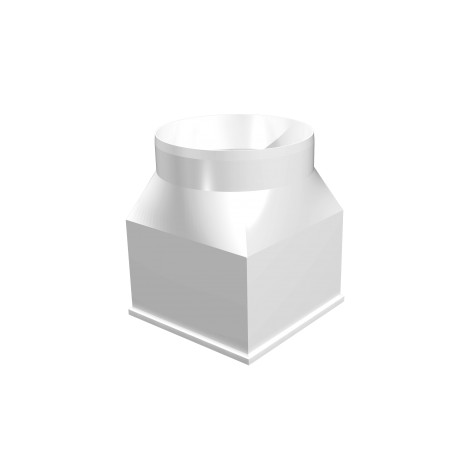Central connector between rectangular ducts and round ducts 126x126/D125
