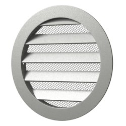 Outside round grill with screen D125 with flange D100, Aluminum