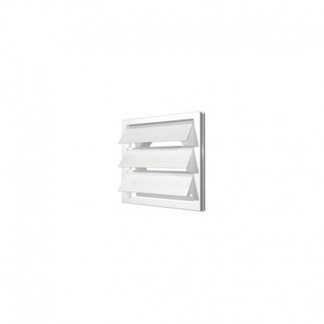 2121K16F, Izpušna rešetka z težnostnimi loputami  212x212  s prirobnico  D160, bela, ASA plastik