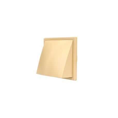 2121K16FV (beige), Izpušna zunanja stenska rešetka s povratno loputo 212x212 in s prirobnico D160, bež , ASA plastik