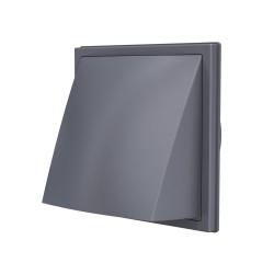 2121K16FV grey, Izpušna zunanja stenska rešetka s povratno loputo 212x212 in s prirobnico D160, siva, ASA plastik